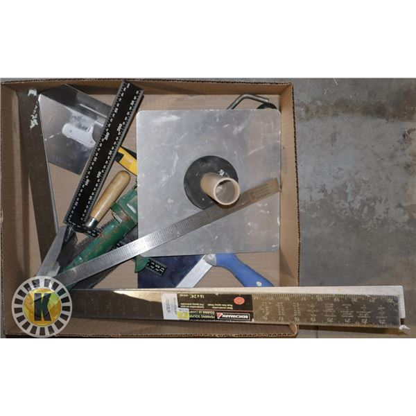 BOX OF ASSORTED DRYWALL TOOLS
