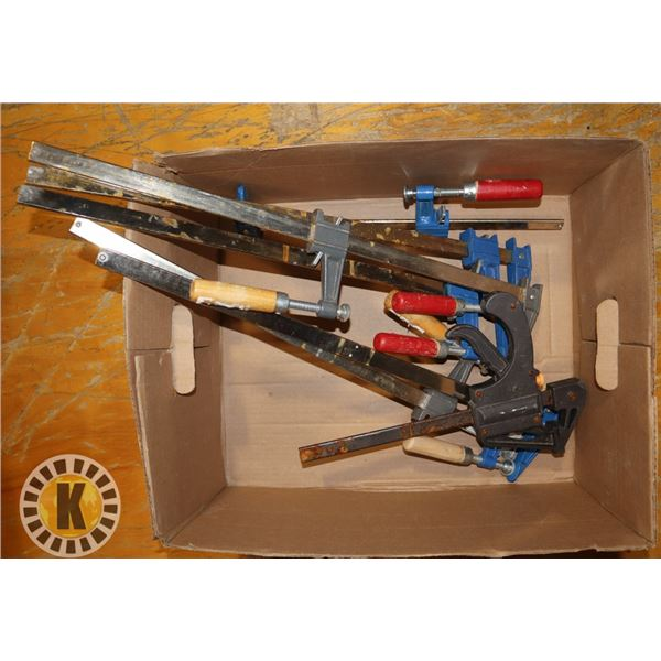 BOX OF ASSORTED CLAMPS