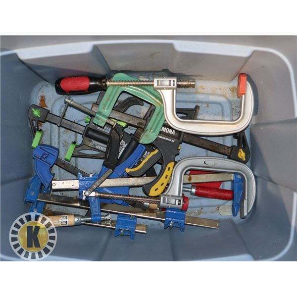 TOTE WITH LARGE NUMBER OF ASSORTED CLAMPS