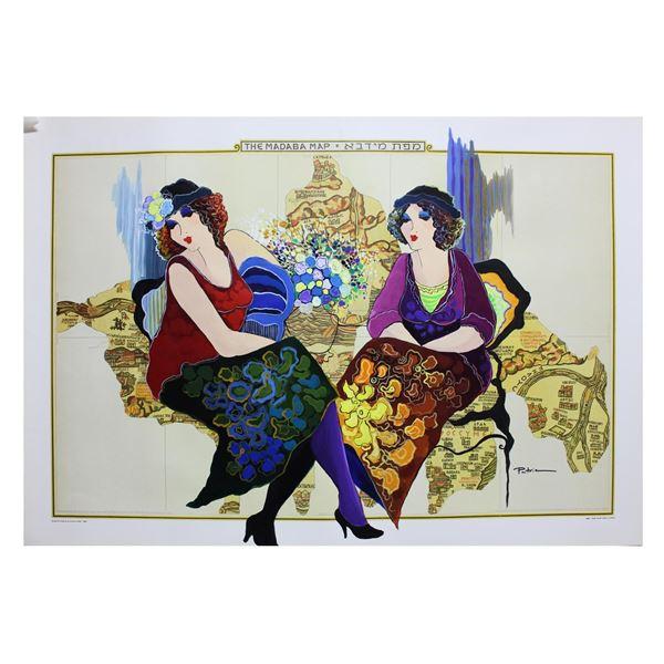 "Patricia Govezensky- Original Acrylic Painting on Nautical Chart ""The Madaba Map"""