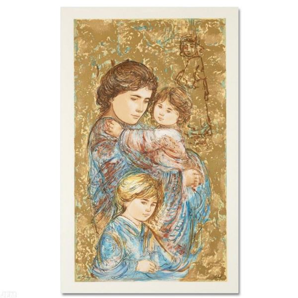 """""""Golden Times"""" Limited Edition Serigraph by Edna Hibel (1917-2014), Numbered and Hand Signed with Ce"""