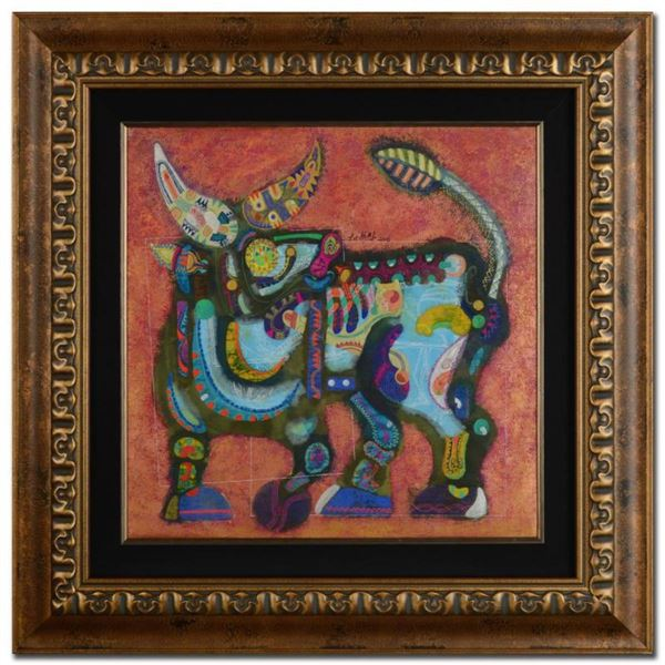 """""""Earth Bull"""" Original Mixed Media Painting by Renowned Artist Lu Hong, Hand Signed by the Artist wit"""