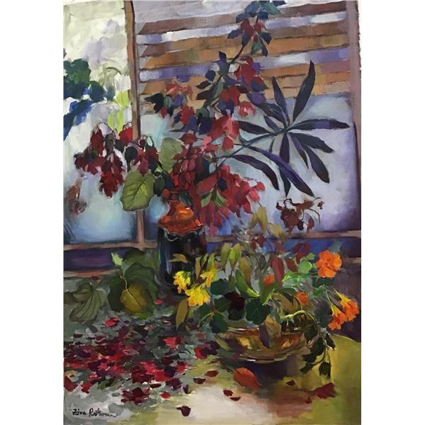 "Zina Roitman- Original Oil on Canvas ""Vase with flowers"""