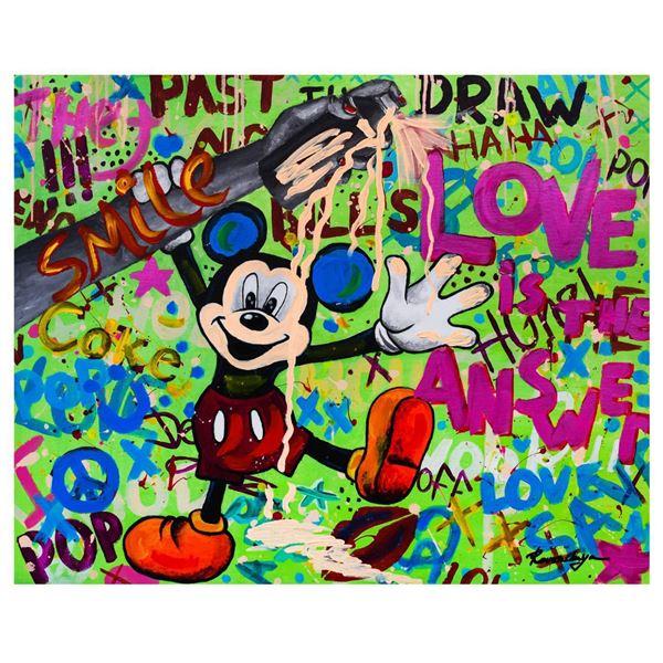 """Nastya Rovenskaya- Mixed Media """"Mickey Mouse In Love"""""""