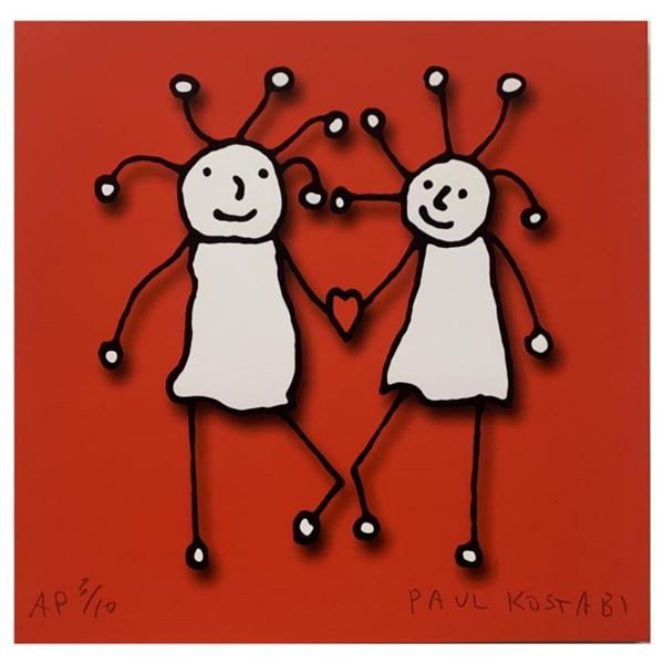 """Paul Kostabi, """"SPRKL Love (Red)"""" Hand Signed Limited Edition Giclee with Letter of Authenticity."""