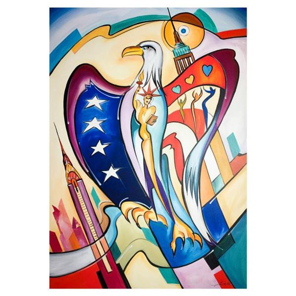 """Alfred Gockel, """"Freedom of NY"""" Hand Signed Limited Edition on Canvas with Letter of Authenticity."""