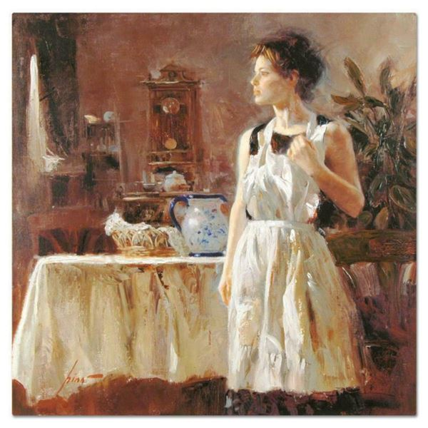 """Pino (1939-2010), """"Sunday Chores"""" Artist Embellished Limited Edition on Canvas, CP Numbered and Hand"""