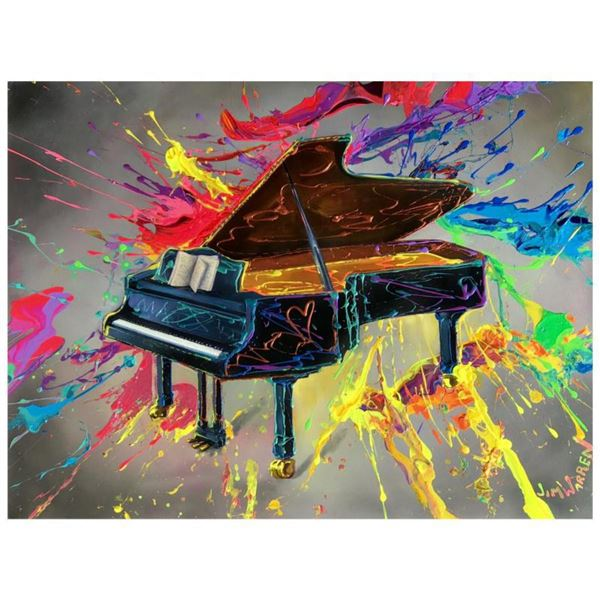 """Jim Warren, """"Very Grand Piano"""" Hand Signed, Artist Embellished AP Limited Edition Giclee on Canvas w"""