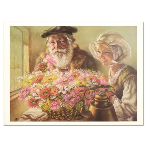 """Virginia Dan (1922-2014), """"Roses for Papa"""" Limited Edition Lithograph, Numbered and Hand Signed with"""
