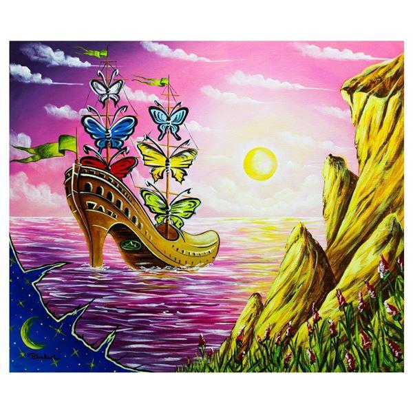 """Eugene Poliarush- Original Oil on Canvas """"Unique Sailboat"""""""