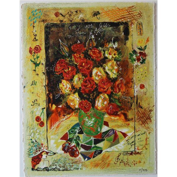 "Sergey Kovrigo- Original Serigraph on Paper ""Red Bouquet"""