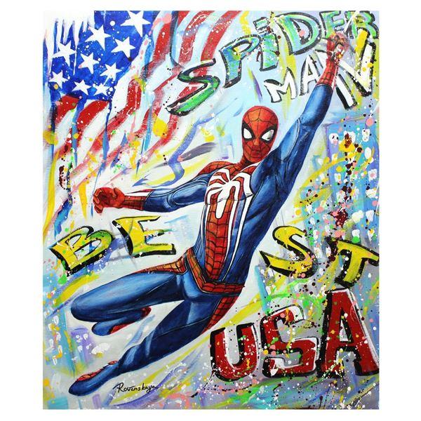 "Nastya Rovenskaya- Original Oil on Canvas ""Spider-Man"""