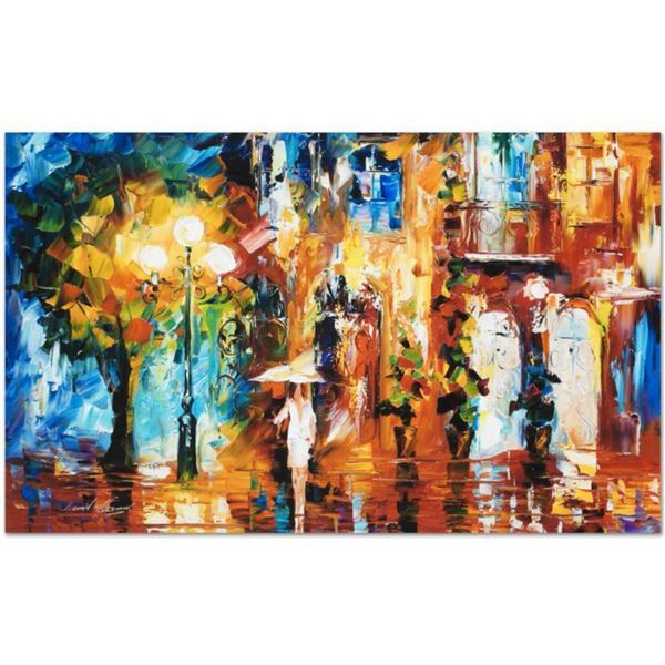 """Leonid Afremov (1955-2019) """"Streetside Expression"""" Limited Edition Giclee on Canvas, Numbered and Si"""