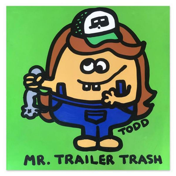 """Todd Goldman, """"Mr Trailer Trash"""" Hand Signed Original Painting on Canvas with Letter of Authenticity"""