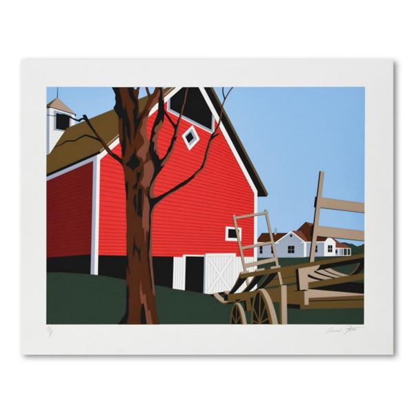 """Armond Fields (1930-2008), """"Red Barn"""" Limited Edition Hand Pulled Original Serigraph, Numbered and H"""
