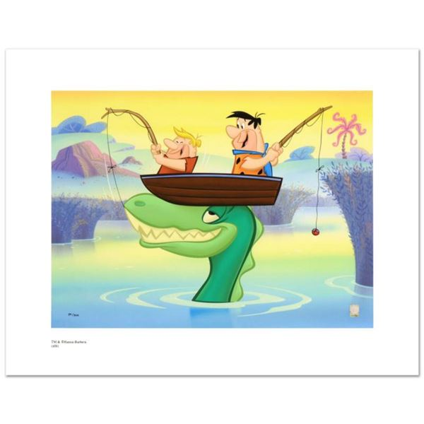 """""""Fred and Barney Fishing"""" Limited Edition Giclee from Hanna-Barbera, Numbered with Hologram Seal and"""