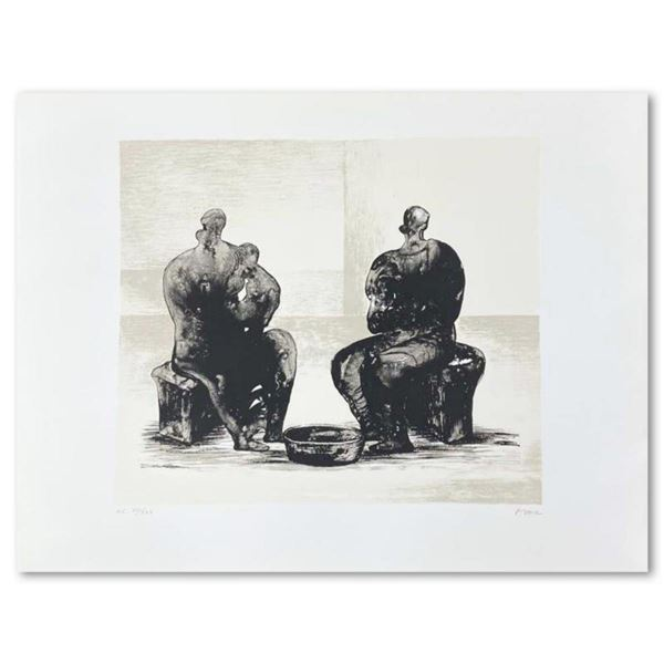 """Henry Moore (1898-1986), """"Two Women Bathing Child II"""" Hand Signed Limited Edition Original Lithograp"""