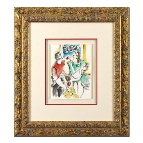 Yuroz, Framed Original Mixed Media Watercolor Painting, Hand Signed with Letter of Authenticity.