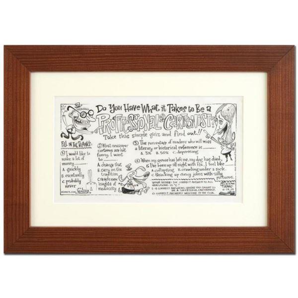 "Bizarro, ""Professional Cartoonist"" is a Framed Original Pen & Ink Drawing by Dan Piraro, Hand Signed"