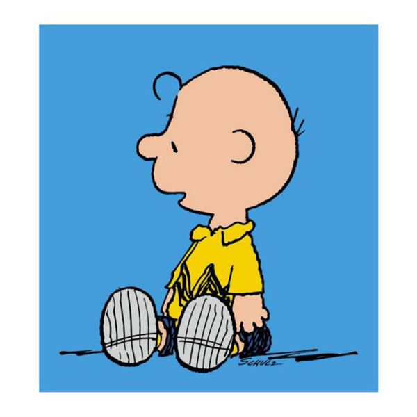 """Peanuts, """"Charlie Brown: Blue"""" Hand Numbered Canvas (40""""x44"""") Limited Edition Fine Art Print with Ce"""