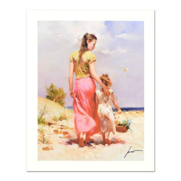 """Pino (1939-2010), """"Seaside Walk"""" Limited Edition on Canvas, Numbered and Hand Signed with Certificat"""