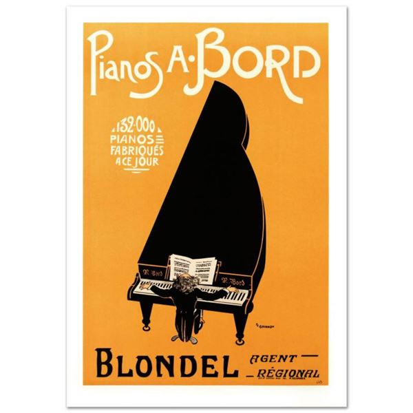 """RE Society, """"Pianos A Bord"""" Hand Pulled Lithograph, Image Originally by P.F. Grignon. Includes Lette"""