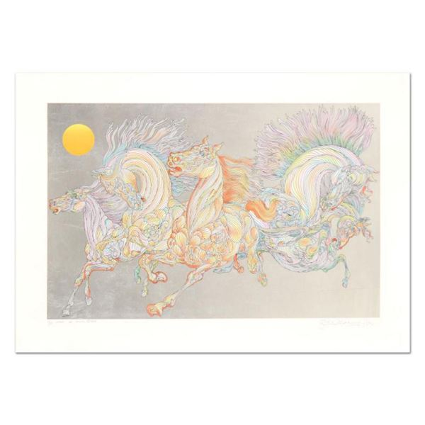 """Guillaume Azoulay, """"Lever De Soleil"""" Limited Edition Serigraph with Hand Laid Silver Leaf, Numbered"""