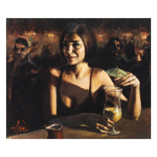 """Fabian Perez, """"Cocktail In Maui"""" Hand Textured Limited Edition Giclee on Canvas. Hand Signed and Num"""