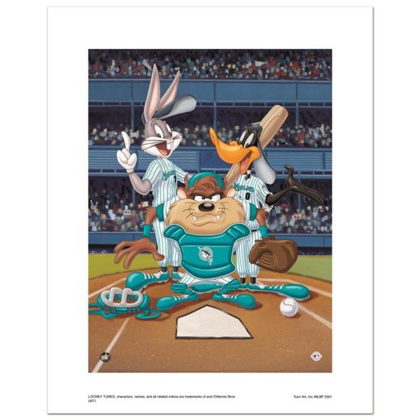 """""""At the Plate (Marlins)"""" Numbered Limited Edition Giclee from Warner Bros. with Certificate of Authe"""