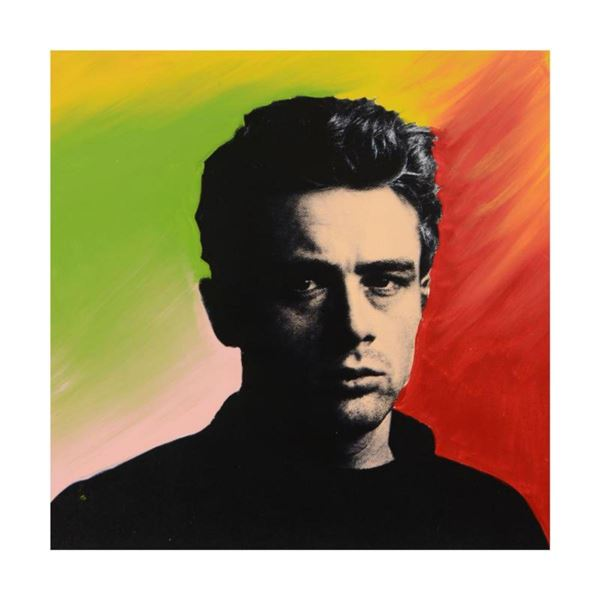 "Steve Kaufman (1960-2010) ""James Dean"" Hand Painted Limited Edition Hand Pulled Silkscreen on Canvas"