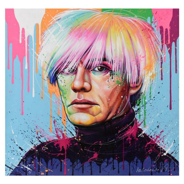 """Alexander Ischenko, """"Warhol"""" Original Acrylic Painting on Canvas, Hand Signed with Letter Authentici"""