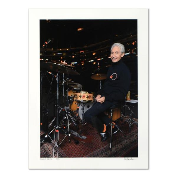 """Rob Shanahan, """"Charlie Watts"""" Hand Signed Limited Edition Giclee with Certificate of Authenticity."""