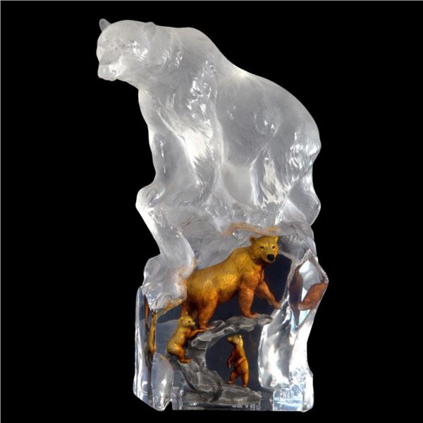 """Kitty Cantrell, """"First Dawn (Bear)"""" Limited Edition Mixed Media Lucite Sculpture with COA."""