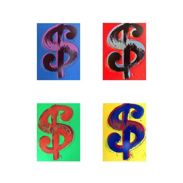"""Andy Warhol """"$ (Dollar signs)"""" Limited Edition Suite of 4 Silk Screen Prints from Sunday B Morning."""