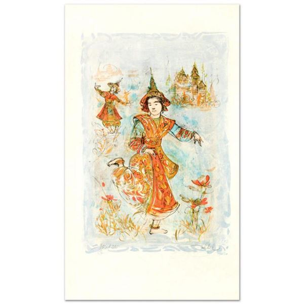 """""""Thai Dancers"""" Limited Edition Lithograph by Edna Hibel (1917-2014), Numbered and Hand Signed with C"""