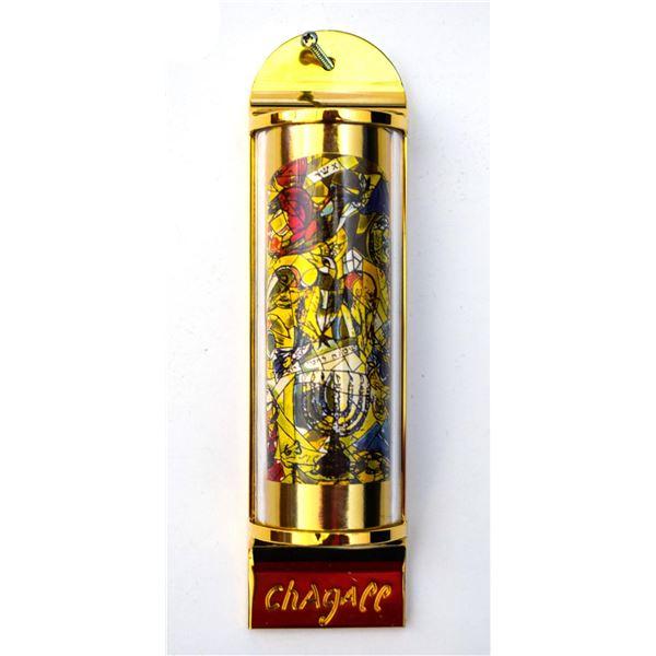 """Marc Chagall - Mezuzah - silkscreen on 24K gold plated bronze """"12 Tribes Hadassah Windows - Asher"""""""
