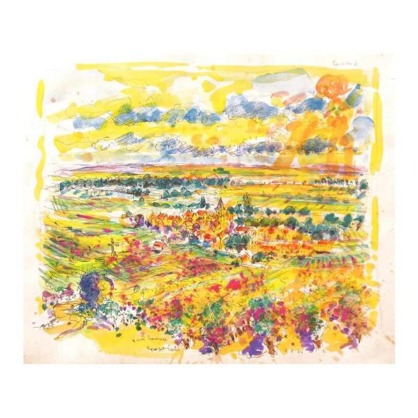 "Wayne Ensrud ""Vosne Romanee, Burgundy, France"" Mixed Media Original Artwork; Hand Signed; COA"