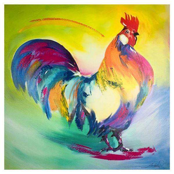 """Alfred Gockel, """"Mr of the Chicken Yard"""" Hand Signed Limited Edition on Canvas with Letter of Authent"""