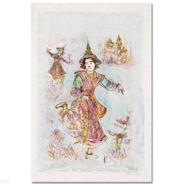 """""""Thai Dancers"""" Limited Edition Lithograph by Edna Hibel, Numbered and Hand Signed with Certificate o"""