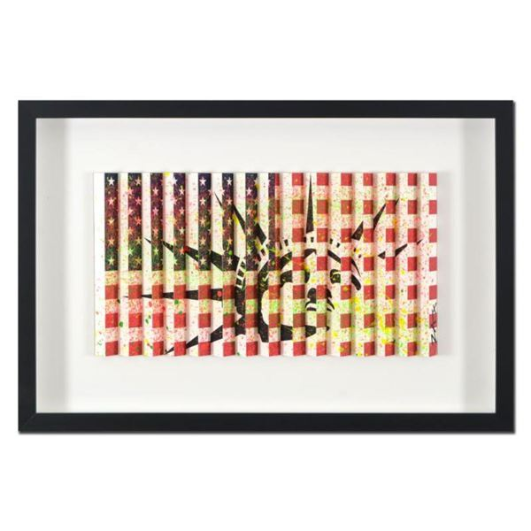 """E.M. Zax- One-of-a-kind 3D polymorph mixed media on paper """"Flag & Liberty"""""""