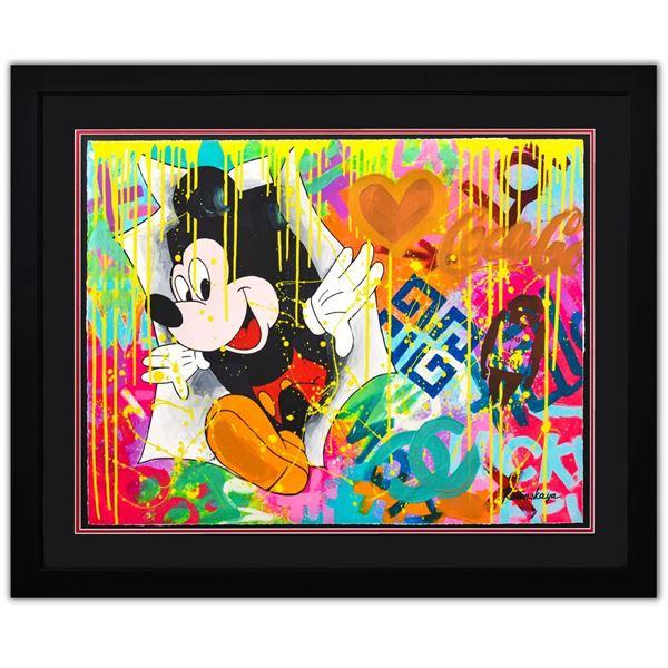 "Nastya Rovenskaya- Original Mixed Media on Paper ""Surprise by Mickey Mouse"""
