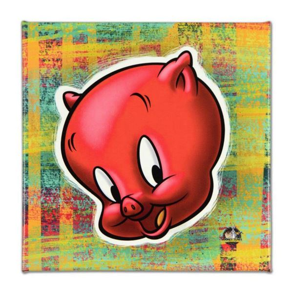 """Looney Tunes, """"Porky Pig"""" Numbered Limited Edition on Canvas with COA. This piece comes Gallery Wrap"""