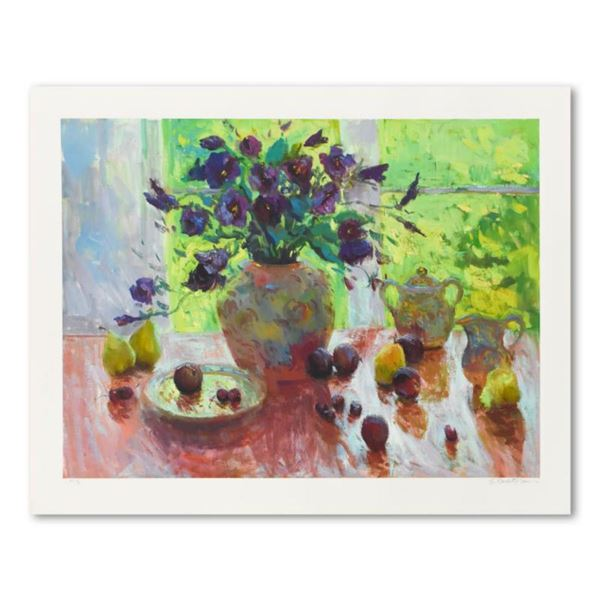 """S. Burkett Kaiser, """"Backlit Bouquet with Plums"""" Limited Edition, Numbered and Hand Signed with Lette"""