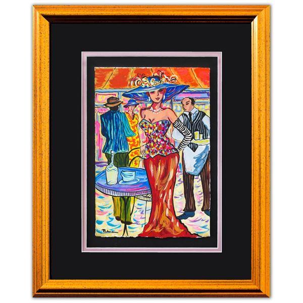 "Patricia Govezensky- Original Watercolor ""Wedding In Santorini"""