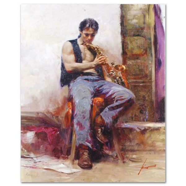 """Pino (1939-2010), """"Music Lover"""" Artist Embellished Limited Edition on Canvas, CP Numbered and Hand S"""