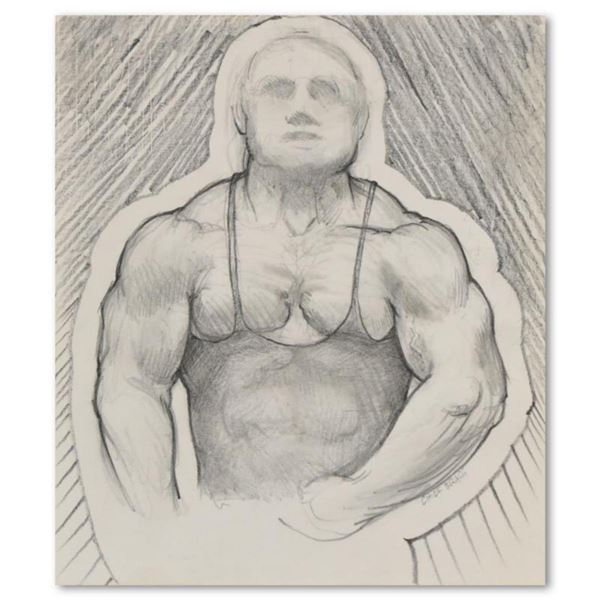 """Charles Lynn Bragg, """"Poser"""" Original Pencil Drawing, Hand Signed with Letter of Authenticity"""
