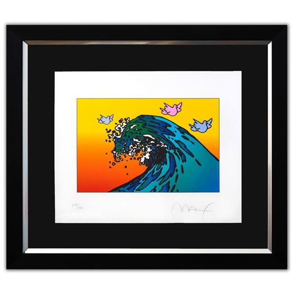 """Peter Max- Original Lithograph """"THE GREAT WAVE with Doves (Mini)"""""""