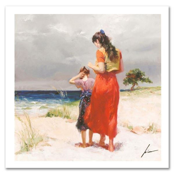 """Pino (1939-2010), """"Beach Walk"""" Limited Edition on Canvas, Numbered and Hand Signed with Certificate"""