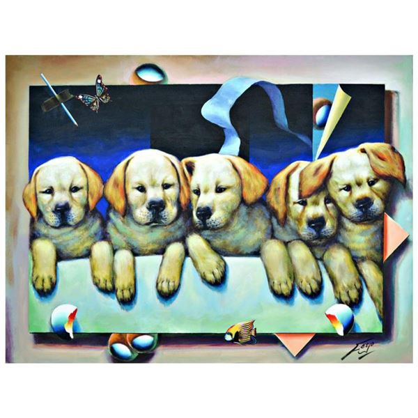 """Ferjo, """"Puppy Love"""" Original Painting on Canvas, Hand Signed with Letter of Authenticity."""