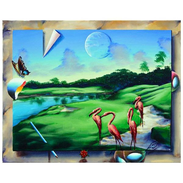 """Ferjo, """"Resting Flamingos"""" Original Painting on Canvas, Hand Signed with Letter of Authenticity."""